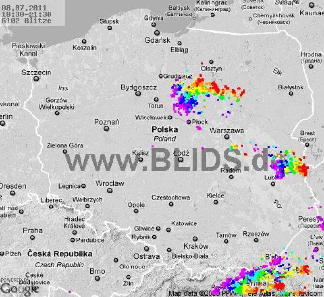Burze w Polsce, godzina 19:30- 21:30 (blids.de)