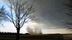 Tornado nad polem uprawnym w Holandii