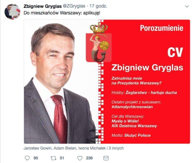 Wpis z profilu posła Zbigniewa Gryglasa ZGryglas / Twitter.com