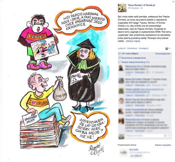 Papcio Chmiel rysunkiem komentuje walkę o plansze Facebook.com