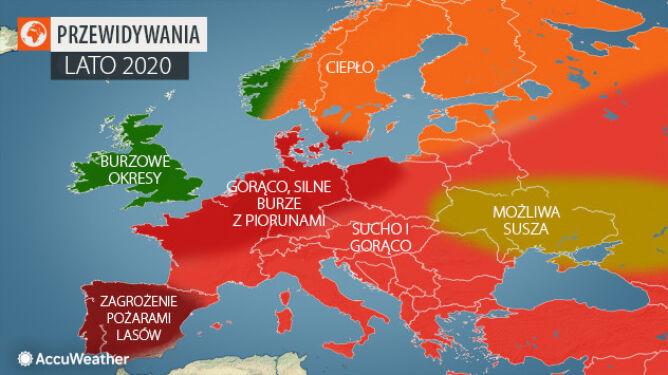 Prognozy amerykańskich meteorologów na lato 2020 (tvnmeteo.pl za AccuWeather)