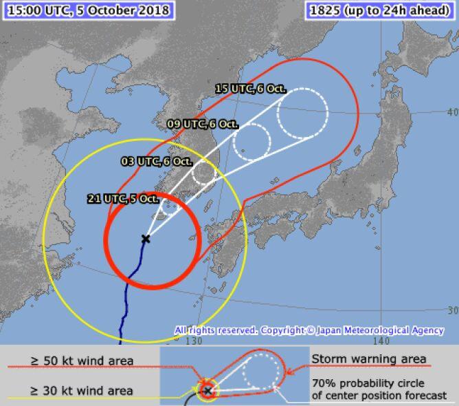 Prognozowana trasa tajfunu Kong-Rey - piątek