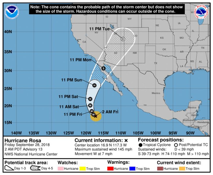 Prognozowana trasa huraganu Rosa (NASA, NHC)