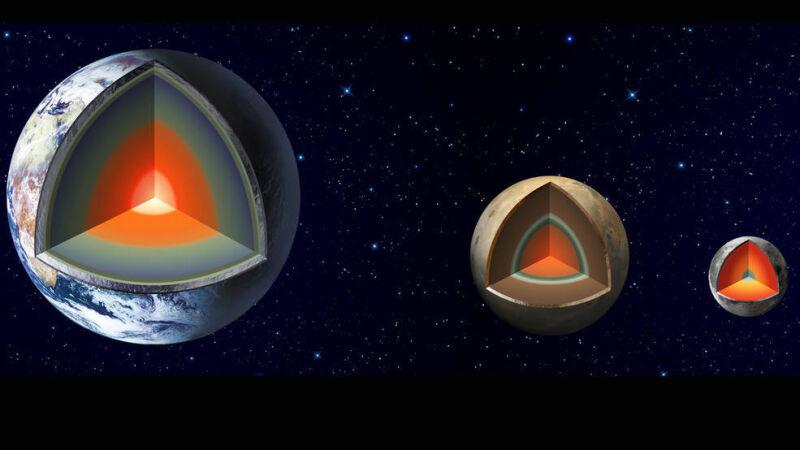 Wizja artystyczna wnętrz Ziemi, Marsa i Księżyca (NASA)