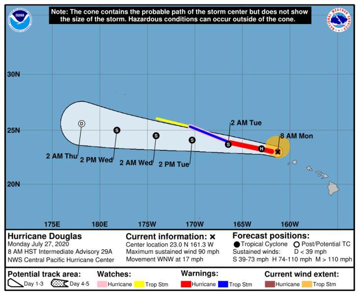 Prognozowana trasa przejścia huraganu Douglas (NHC/NOAA)